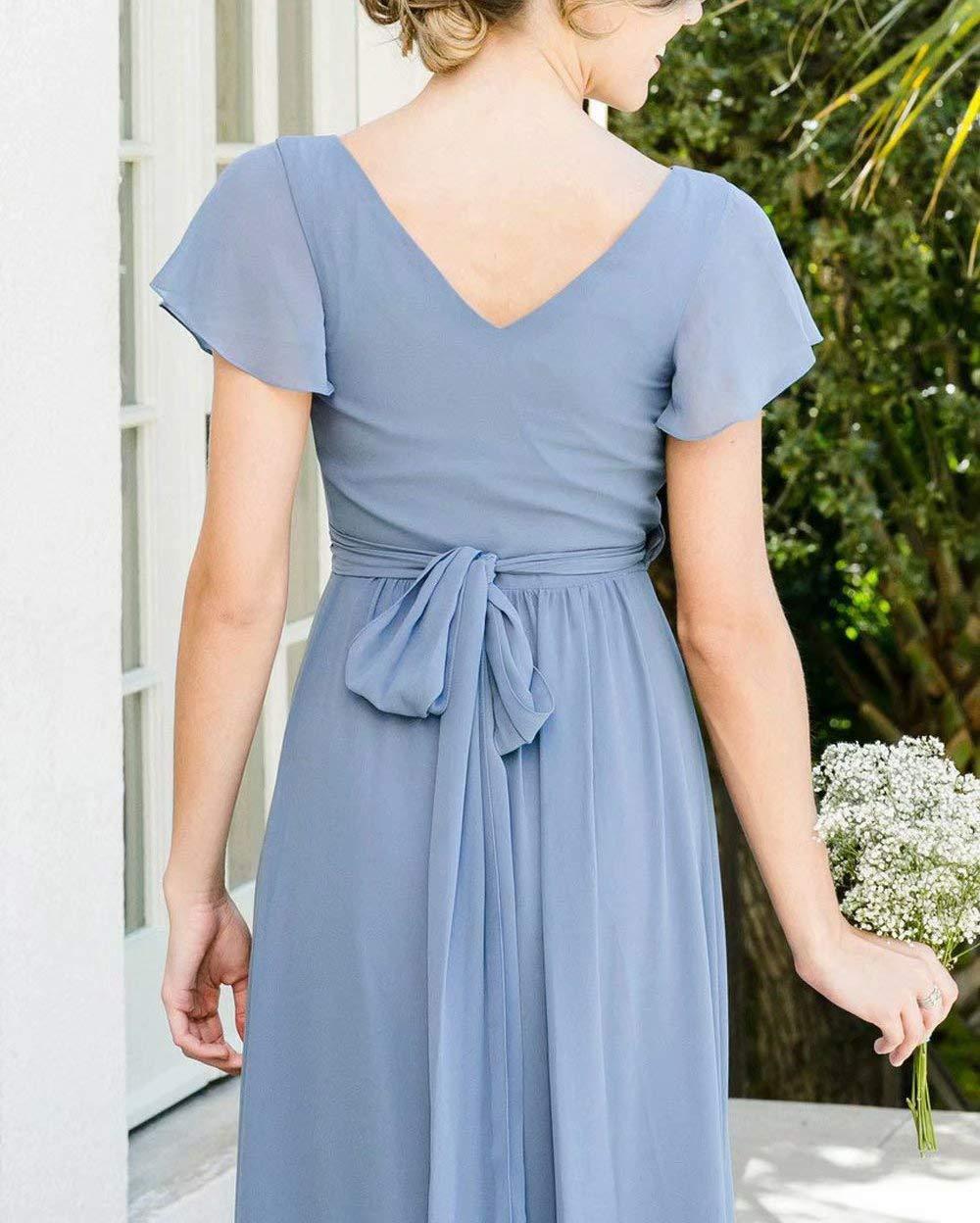 4d79e10e56a0 ElenaDressy Modest Short Sleeves Chiffon Bridesmaid Dresses 2019 ...
