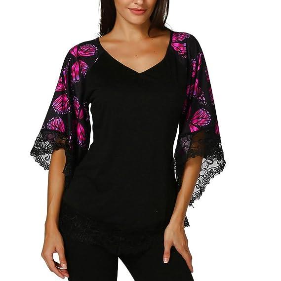 OHQ Camiseta con Manga Raglán de Mariposa Para Mujer y Blusa con Borde de Encaje,