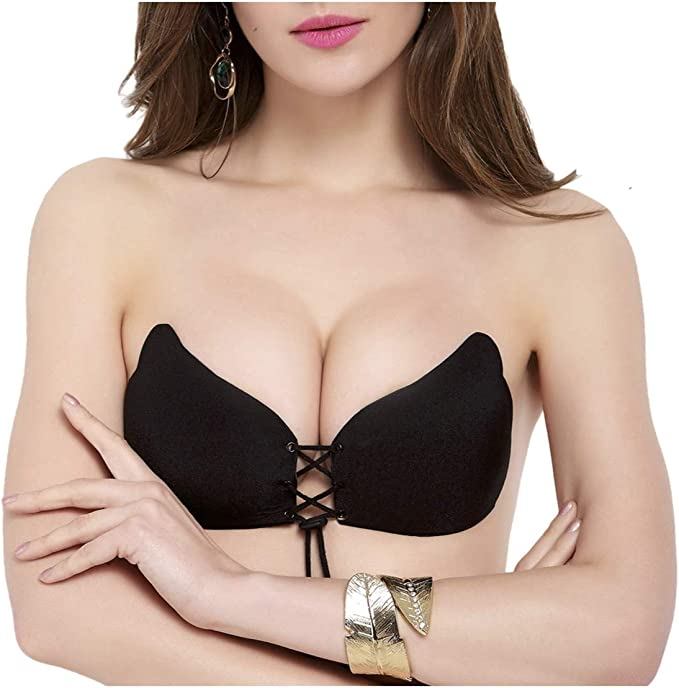 Womens Self Adhesive Bra Push Up Silicone Bra Reusable Strapless Bra Breathable Backless Bra