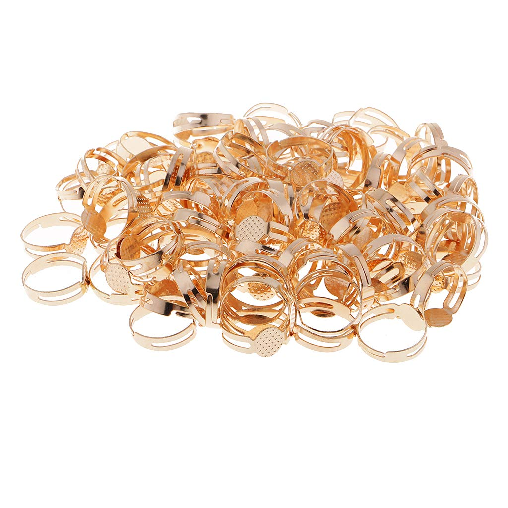 Gold Baoblaze 100 Pieces Silver Gold Adjustable Ring Blank Round 8mm Cabochon Bezel Pad Base Settings for Jewelry Making