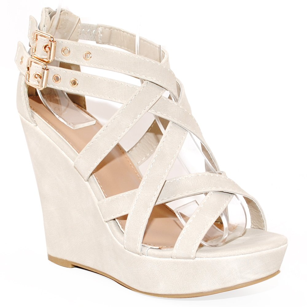 TRENDSup Collection Women Fashion Buckle Wedge Sandals B06XDX4P5T 7 B(M) US|Beige