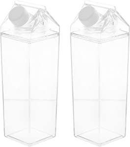 HEMOTON 2Pcs Clear Water Bottle Milk Carton Shaped Water Bottle Reusable Plastic Juice Bottle Beverage Milk Cup for Outdoor Climbing Travel Or Camping 500ml