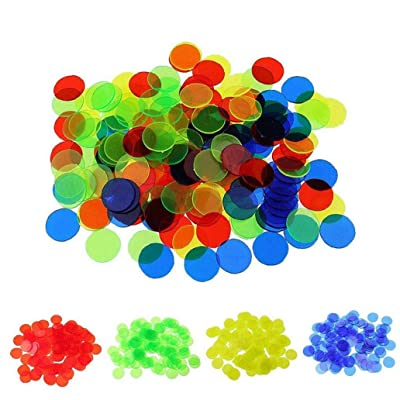 Aisoway Plastic Coin Bingo Chip Math Toys Montessori Education Learning Resources Color Supplies 100 Pcs: Home & Kitchen
