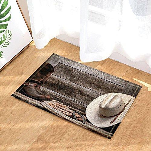 (HiSoho Western Decor Cowboy Hat Boots and Rope Against Retro Wooden Board Bath Rugs Non-Slip Doormat Floor Entryways Indoor Front Door Mat Kids Bath Mat 15.7x23.6in Bathroom Accessories)
