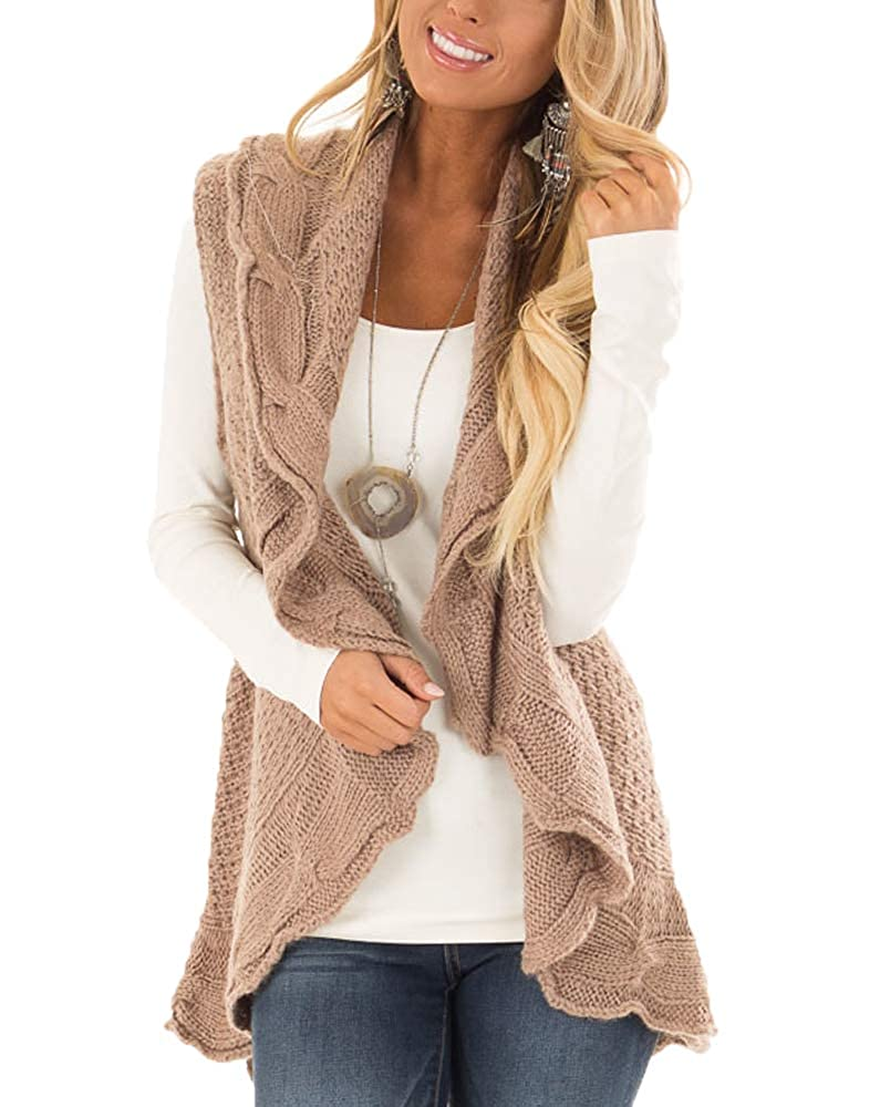 YSkkt Womens Sweater Vest Plus Size Cable Knit Open Front Cardigans Fall Jackets Winter Coats Outwear
