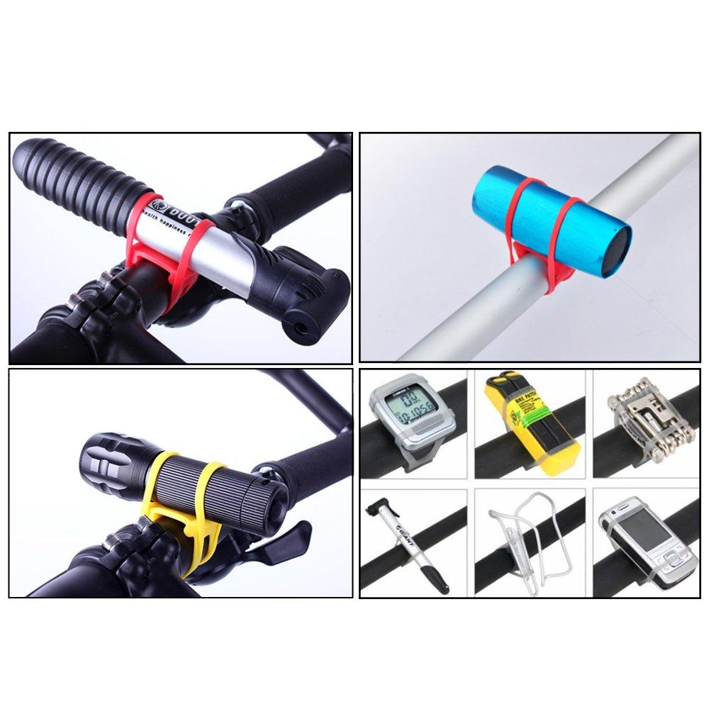 6pcs Multi-purpose Holder Bicycle Handlebar Silicone Strap Fixing Elastic Band