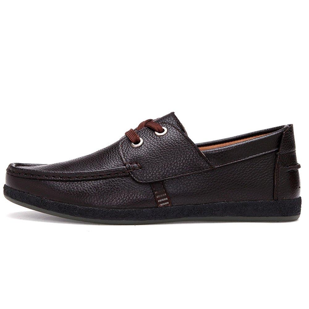 Mocasines para Caminar Zapatos Planos de Cuero de Ante de los Hombres Zapatos Planos de Encaje de los Hombres de Negocios Zapatos de Barco 41 1/3 EU|Marrón