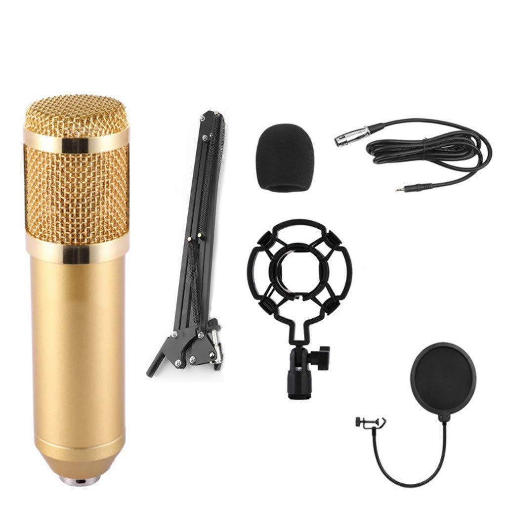 Professional Condenser Microphone Kit Complete Set for Studio Recording BM900 Singing Song Gold Maoyou