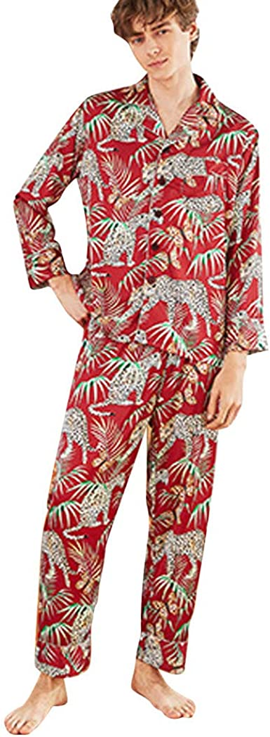 Men Long Sleeve Print Shirt+Pants Sleepwear Silk Pajamas Outfit Set Pajamas Suit