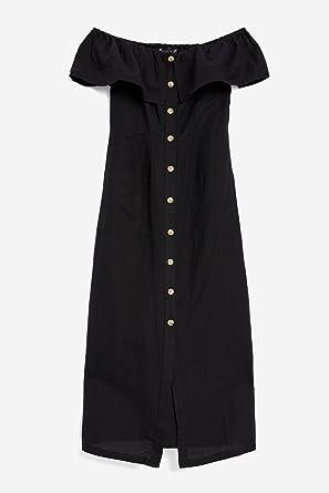 63bd96026c5853 Topshop Black Linen Bardot Midi Dress (UK6): Amazon.co.uk: Clothing