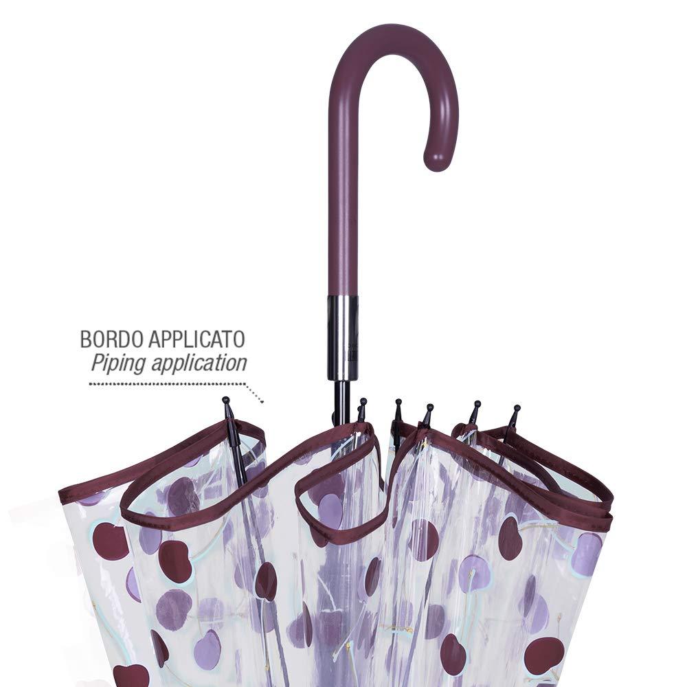 Perletti Chic Resistente Antiviento Fibra Vidrio Diametro 89 cm Automatico Mango y Ribete Color Granate Paraguas Transparente Burbuja Cerezas Mujer Cerezas Azules Paraguas Largo Cupula