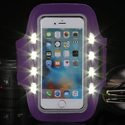 'Bracelet Sport LED Housse de outry pour iPhone 7(4,7) et d'autres smartphones personnalisables, Fitness Armband résistant à la transpiration avec éclairage LED et porte-clé, convient pour co