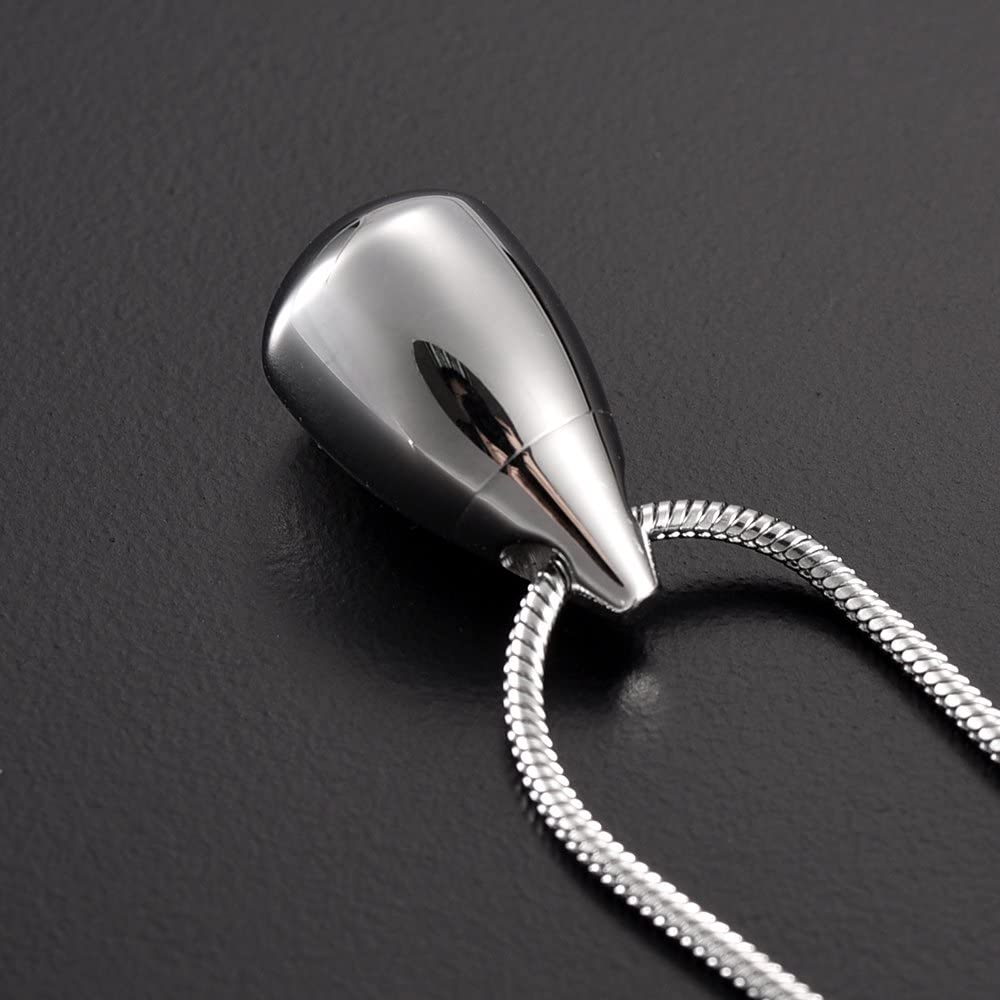 zeqingjw Teardrop Cremation Necklace for Ashes Stainless Steel Memorial Ashes Holder Urn Necklace for Human Keepsake Pendant Jewelry