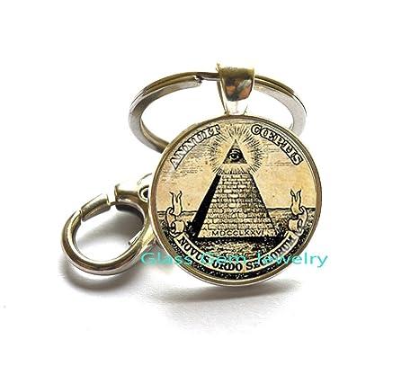 Annuit Coeptis clave Anillo llavero de Egipto pirámide ojo ...