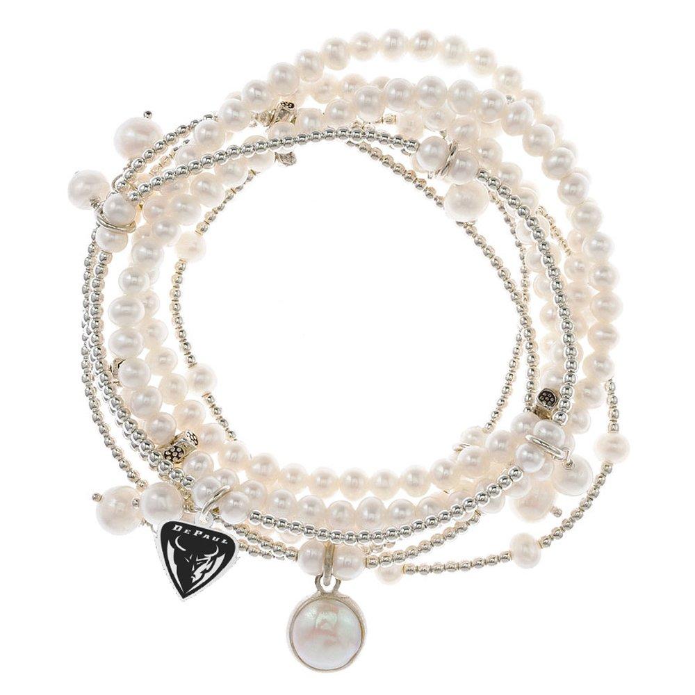 DePaul Blue Demons 7 Strand Freshwater Pearl and Silver Bracelet