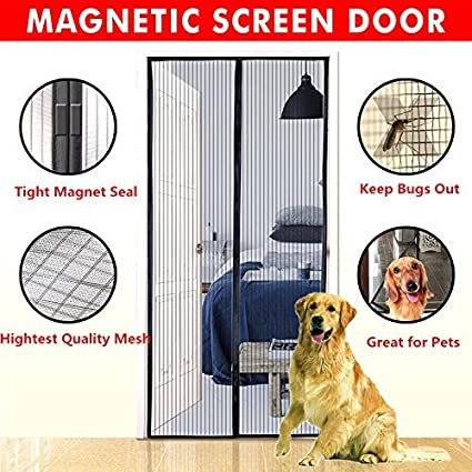Magnetic Screen Door,Bluesim Screen Door Mesh Curtain With Full Frame  Stickers, Fits Door