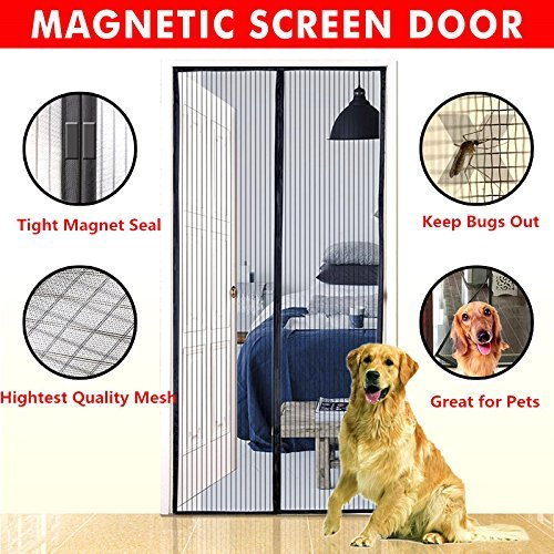 Magnetic Screen Door,Bluesim Screen Door Mesh Curtain with Full Frame Stickers, Fits Door Up To 34x82 , Keep Mosquitoes,Flies and Bugs Outside