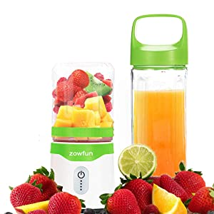 Portable Blender, Eletric Personal Blender with 2 Juicer Cup USB Rechargeable Smoothie Maker Juicer Blender for Shakes Baby Food Mixing Machine with Powerful Motor, 2x2000mAh High Capacity Batteries