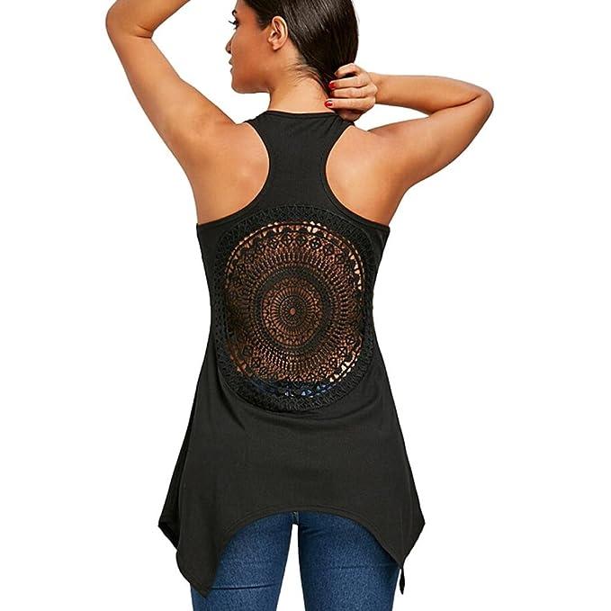 Koly Chaleco Camisetas Sin Mangas atractivo Blusas y camisas Atractiva Camiseta Tapas Verano Primavera Para Mujeres Hueco Fuera Racerback Creciente Hem ...