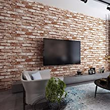 HUANGYAHUI Modern Brick, Brick, Non-Woven Fabric, Wallpaper, Living Room, Tv Background Wallpaper, Retro Stripe Wallpaper,Chinese Red