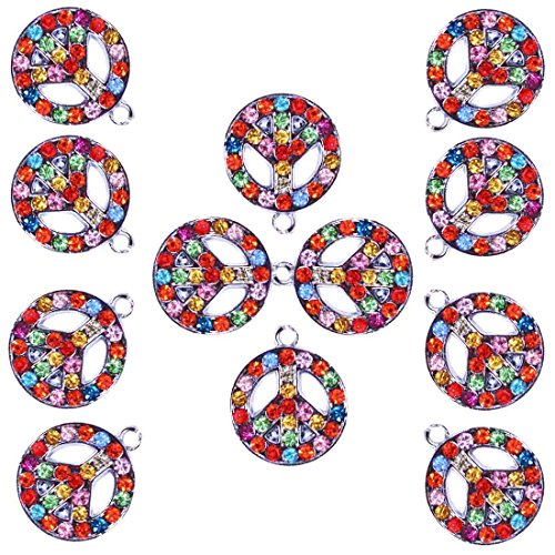 DIYJewelryDepot: 1 Packe 12 Pcs Rainbow Rhinestone Peace Sign Charms Pendants for Necklaces Bracelets and Jewelry Accessories
