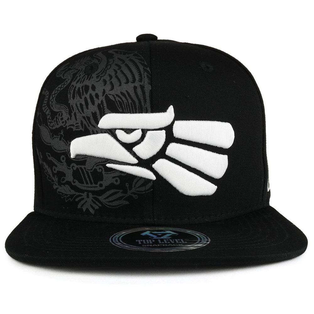 Trendy Apparel Shop Hecho En Mexico Eagle 3D Embroidered Flat Bill Snapback Cap - Black White