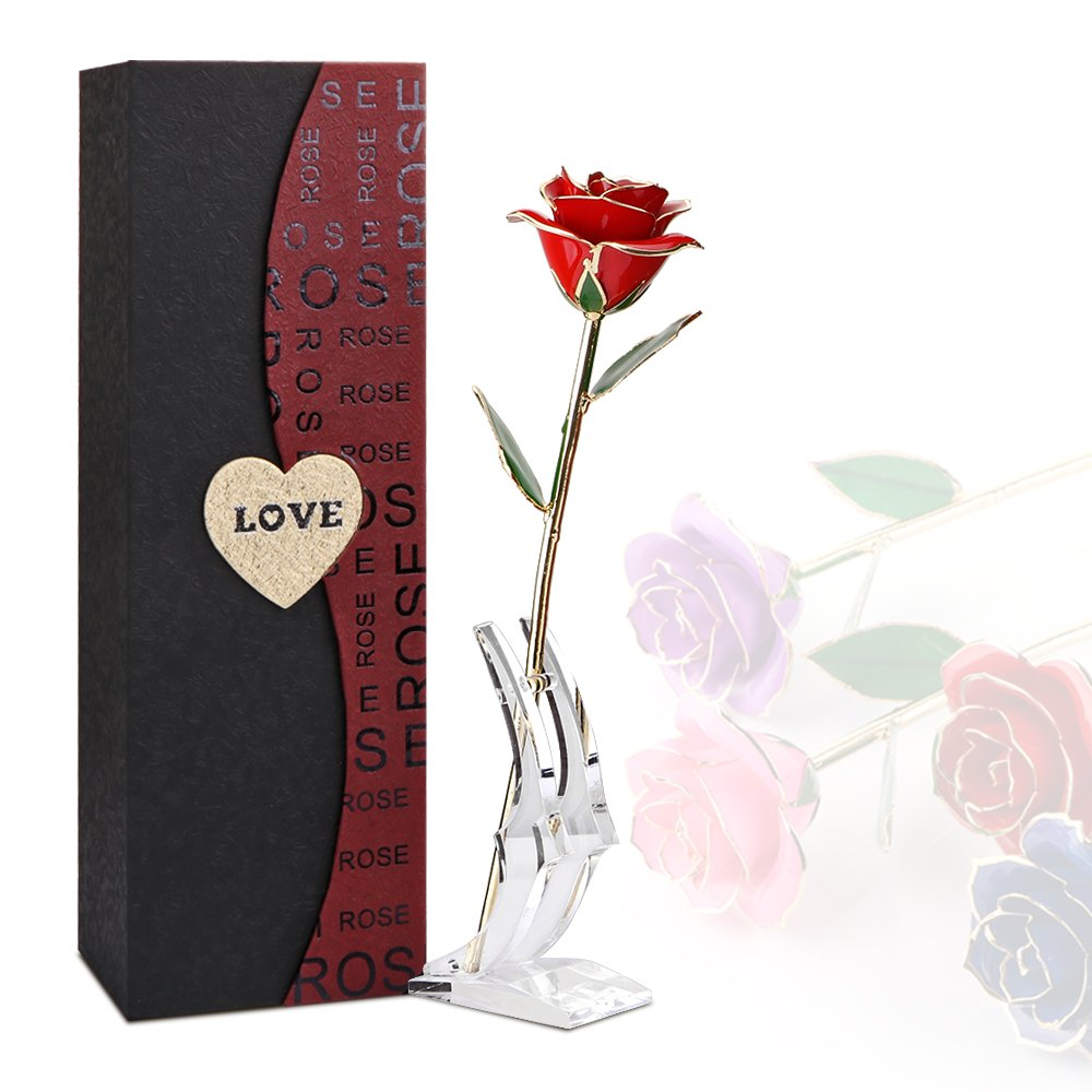Rose 24K Gold Plated Rose Flower with Gift Box Best Gift for Valentine's day Mother's day Christmas Birthday Golden/Red/Purple/Blue (Blue) ALLOMN BHBAZUKLIK439