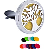 HooAMI Tree of Life Car Air Freshener Aromatherapy Essential Oil Diffuser Vent Clip Stainless Steel Locket with 11 Washable Felt Pads