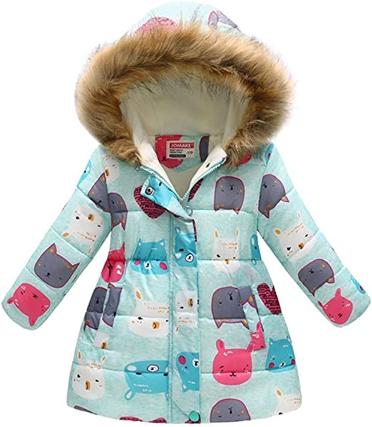 Child Kid Girl Floral Printed Winter Warm Jacket Thick Coat Outerwear Puffer UK