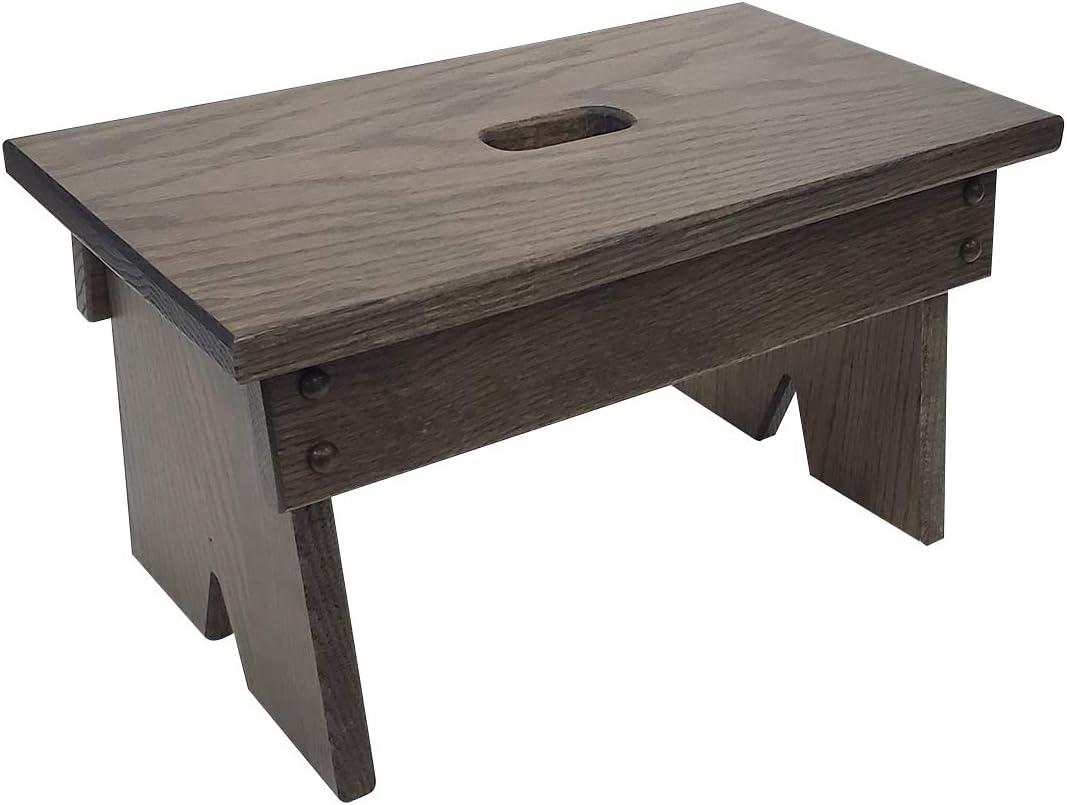 Peaceful Classics Step Stool Solid Oak, Handmade Amish Footstool for Kitchen, Bedroom, Living Room, or Bathroom (Antique Slate)