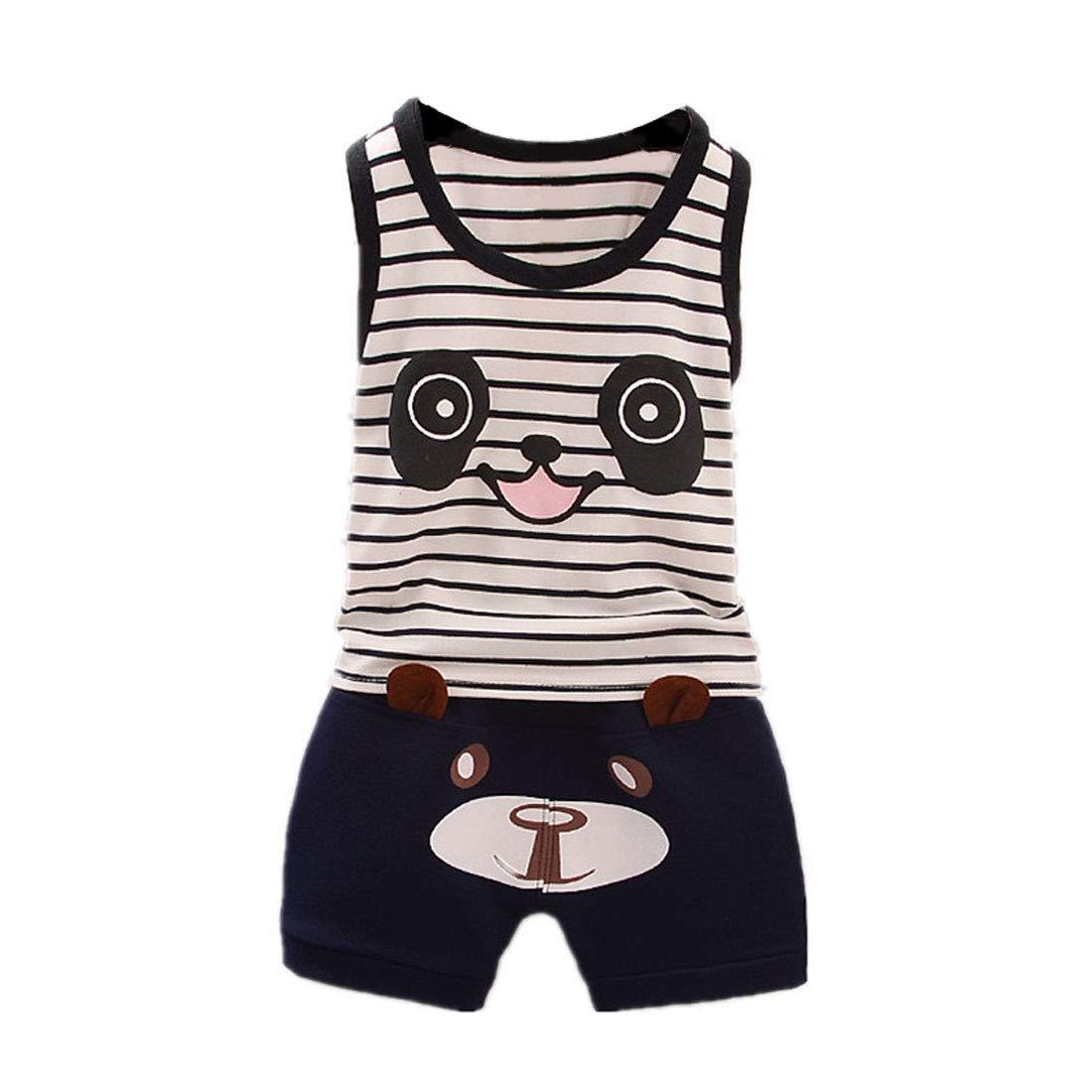 FCQNY Kids Boys Summer Sleeveless Striped Panda Tank Tee Tops+Shorts Set 2Pcs