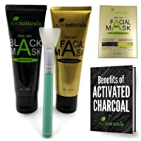 aimnaturals Best Natural Charcoal Peel Off Face Mask 120g + Gold Collagen Anti Aging, Anti Wrinkle, Firming Mask 120g (BULK 2 Tubes)+ FREE Brush + FREE Electronic Book on Benefits of Activated Charcoal , Natural Blackhead Remover Mask, Deep Clean Charcoal Face Mask, Blackhead Peel Off Face Mask| Black Mask Charcoal Peel Off Face Mask for Oily Skin Control, Strawberry Nose, Deep Pore Cleansing with Bamboo Charcoal, Aloe Vera, and Vitamin E