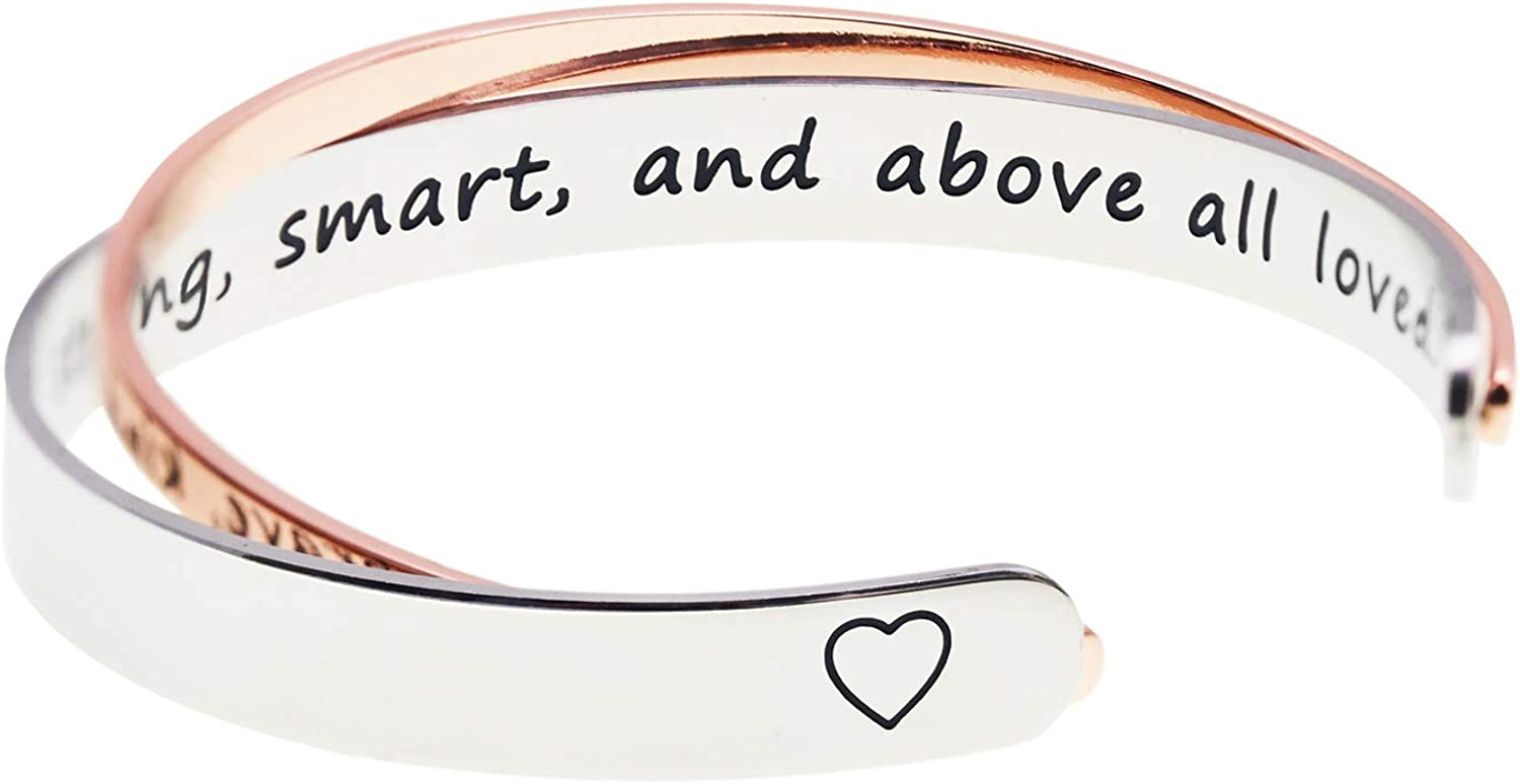 Melix Home Best Friend Encouragement Gifts Bracelets You are Brave Kind Strong Smart and Above All Loved Inspirational Bracelets Recovery Gift Cuff Polished Finish