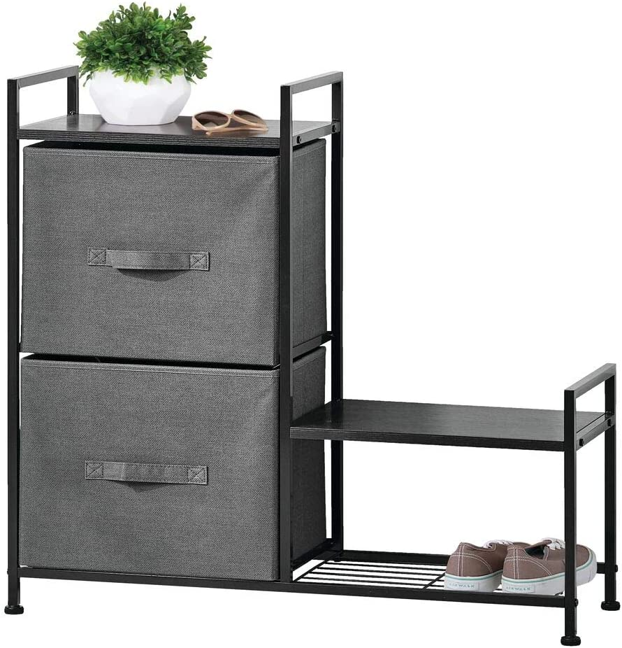 mDesign Dresser Storage Tower - Steel Frame, Wood Top, Easy Pull Fabric Bins - Organizer Unit for Bedroom, Hallway, Entryway, Closet - Textured Print, 2 Drawers - Side Shoe Shelf - Charcoal Gray