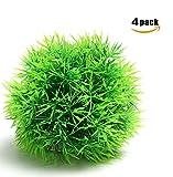 CNZ Aquarium Decor Fish Tank Decoration Ornament Artificial Plastic Green Moss Ball 4-Pack