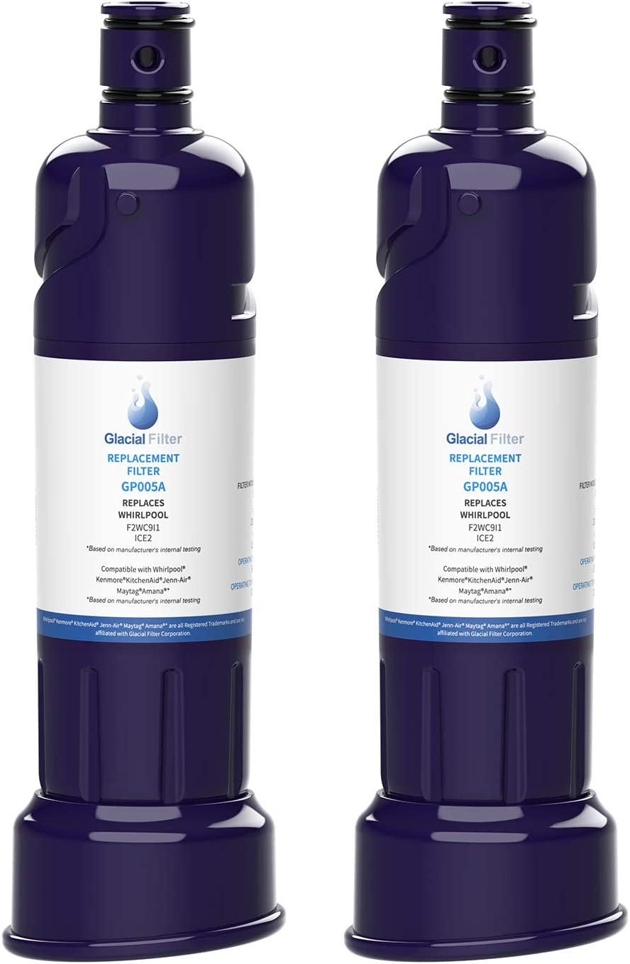 2 PACK Glacial Pure ICE2 F2WC9I1 Ice Maker Water Filter Compatible With W10565350 W10480323