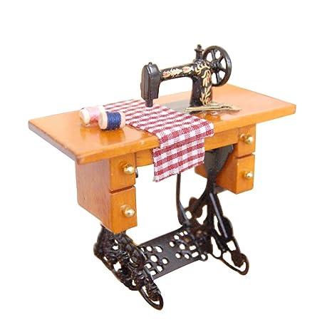 BulzEU 1:12 Vintage Miniatura Dollhouse Mini máquina de Coser Muebles con muñecas de Tela