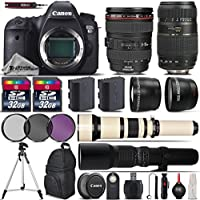 Canon EOS 6D DSLR Camera + Canon 24-105mm IS USM Lens + Tamron 70-300mm Di LD Macro Lens + 650-1300mm Telephoto Lens + 500mm preset Zoom Lens + 0.43X Wide Angle Lens - International Version