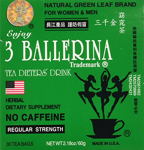 - 3 Pack of 3 Ballerina Dieters Tea for Men and Women (3 Boxes of 30 Tea Bags)