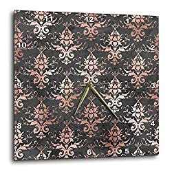 3dRose Anne Marie Baugh - Patterns - Pretty Charcoal Gray and Pink Image of Foil Damask Pattern - 10x10 Wall Clock (DPP_323122_1)