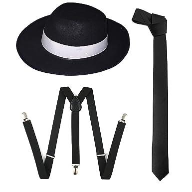 0cd36112 WickedFun® ADULT GANGSTER BLACK HAT TIE BRACES SET FELT TRILBY AL CAPONE  1920s FANCY DRESS PARTY ACCESSORIES (3 Pieces Full Set): Amazon.co.uk:  Clothing