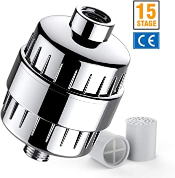 Universal 15 Stage  Shower Filter with 2 Replaceable Cartridge for Hard Water