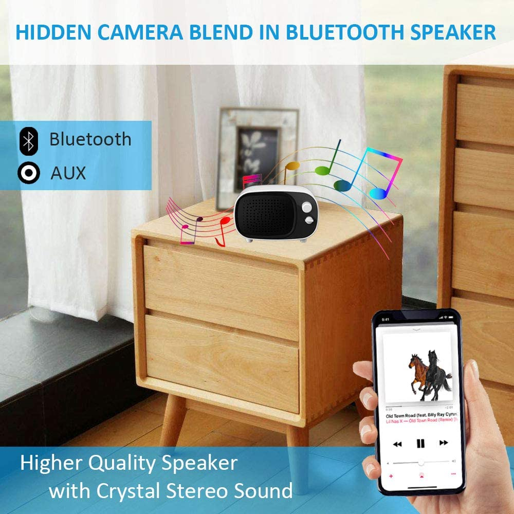 Wireless Hidden Camera Bluetooth Speaker WiFi Spy Camera AMZCEV 1080P Security Cam Baby Monitor with Motion Detection Alarm and Night Vision Real Time View//Monitoring//Recording Via Mobile Phone App