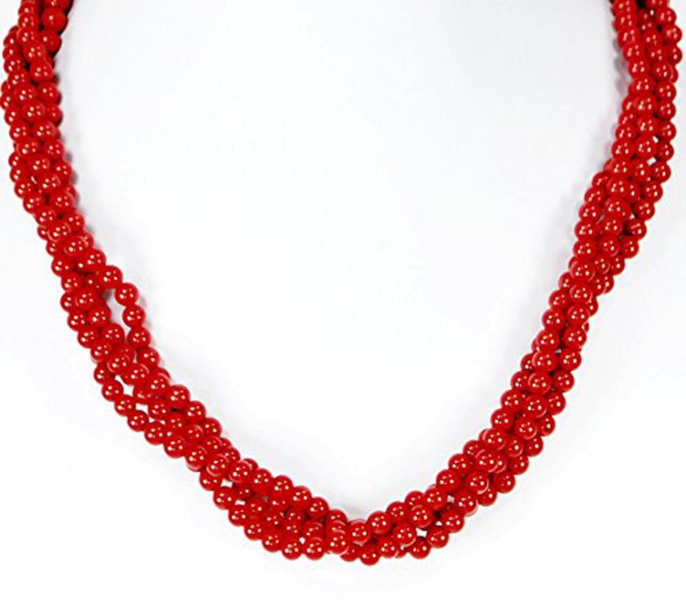 Multi-strands Red Coral Necklace with Silver Tone Toggle Clasp 18'' N3103034b