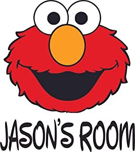 Cute Elmo Happy Face Sesame Street Customized Wall Decal - Custom Vinyl Wall Art - Personalized Name - Baby Girls Boys Kids Bedroom Wall Decal Room Decor Wall Stickers Decoration Size (20x20 inch)