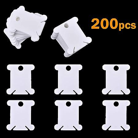 iSuperb 200 PCS Bobine Plaque de Fil en Plastique Broderie Croix Canette Bobines de Fil Plastique Blanc Floss Carte Plaque pour Couture Bricolage Artisanat Blanc Laiteux 200 pi/èces
