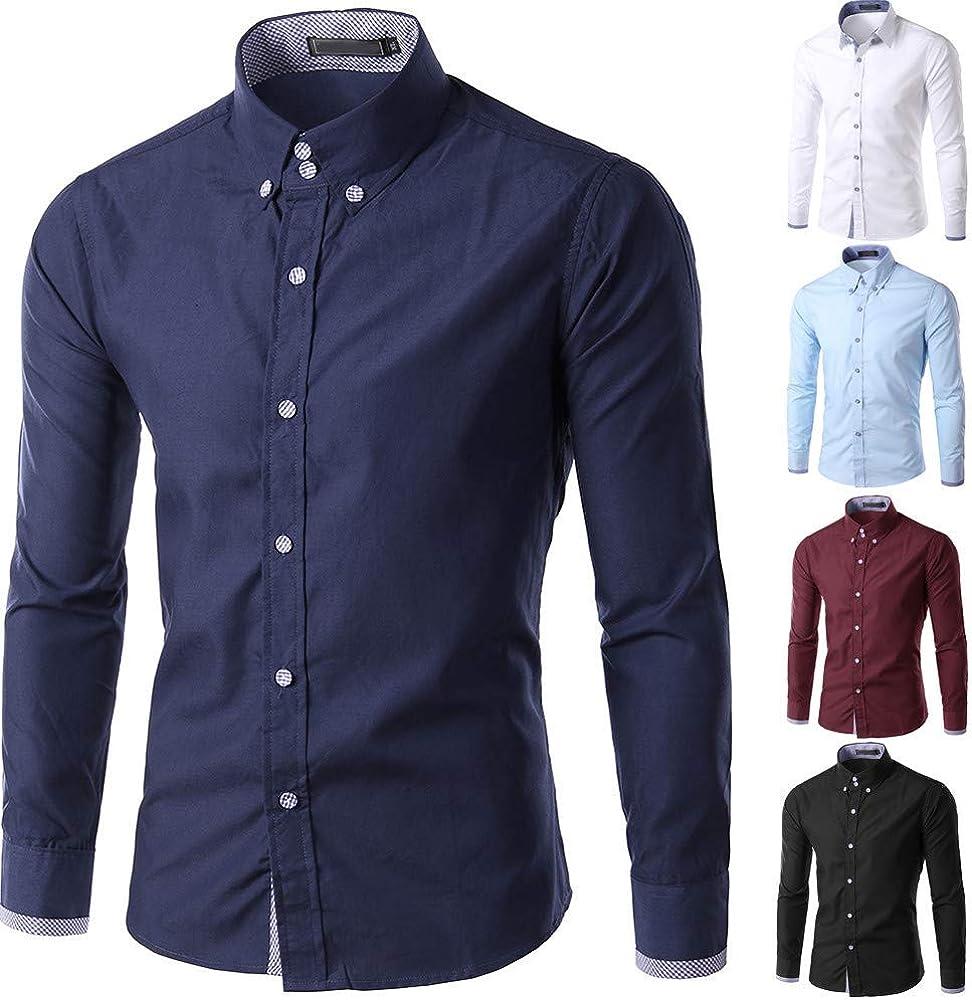 Camisa para Hombre Negocio Festiva Ropa Blanco Negro Sólido Azul Moda Camisas para Hombre Cuello Alto Solapa Manga Larga Primavera Casual Slim Fit Manga Larga Color Sólido Blusa Delgada Botón para: Amazon.es:
