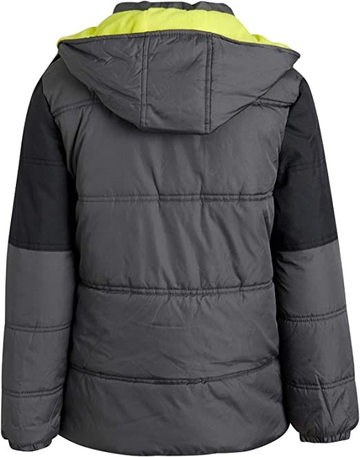 Fleece Lined Bubble Puffer Water Repellent Ski Jacket with Winter Hat iXtreme Boys Winter Jacket