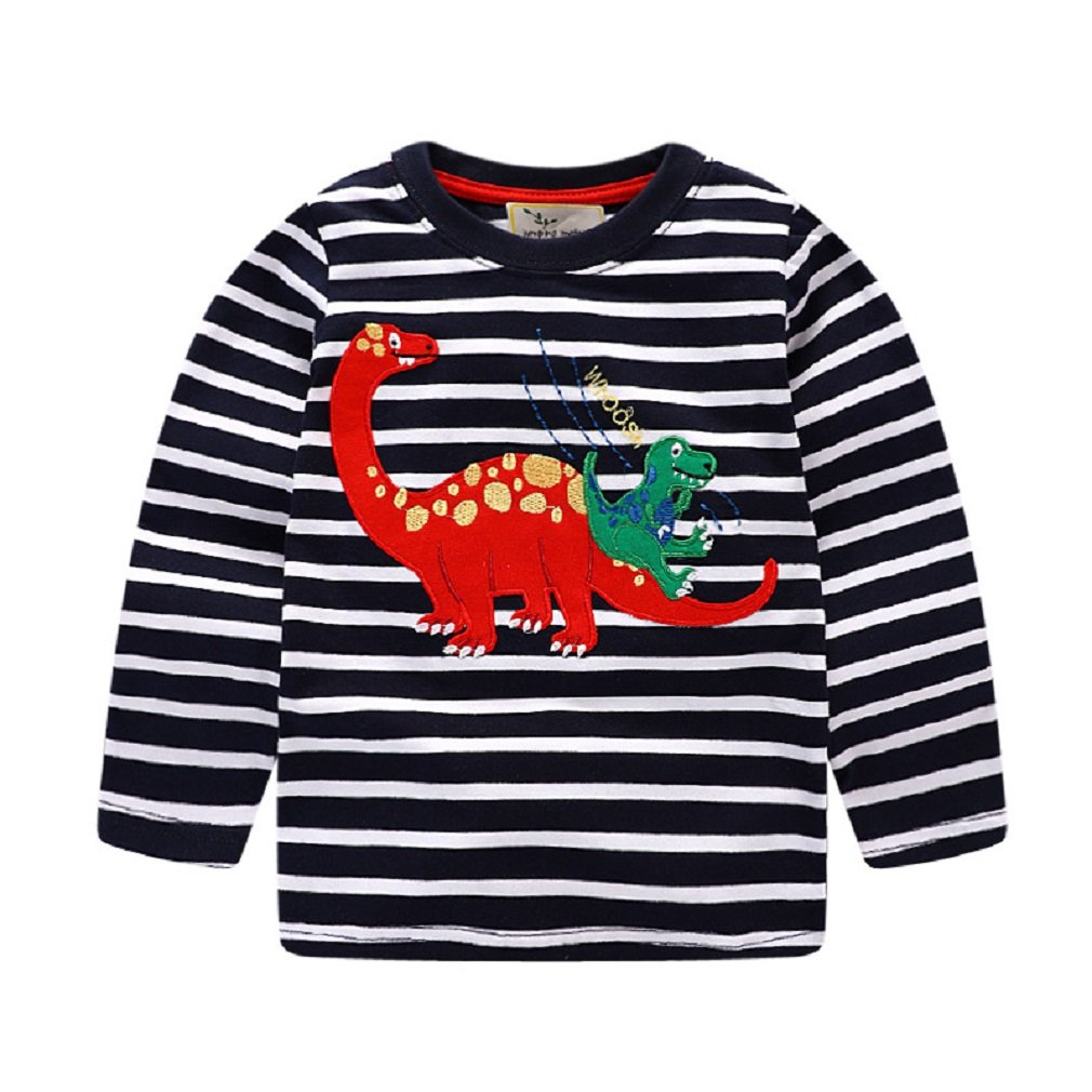 KIDSALON Little Boys' Cotton Crewneck Long Sleeve Cartoon T-Shirt