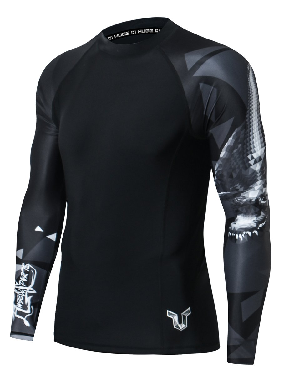 HUGE SPORTS Wildling Series UV Protection Quick Dry Compression Rash Guard (Alligator,XL) by HUGE SPORTS